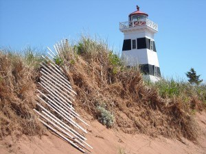 black and white lighthouse on PEI